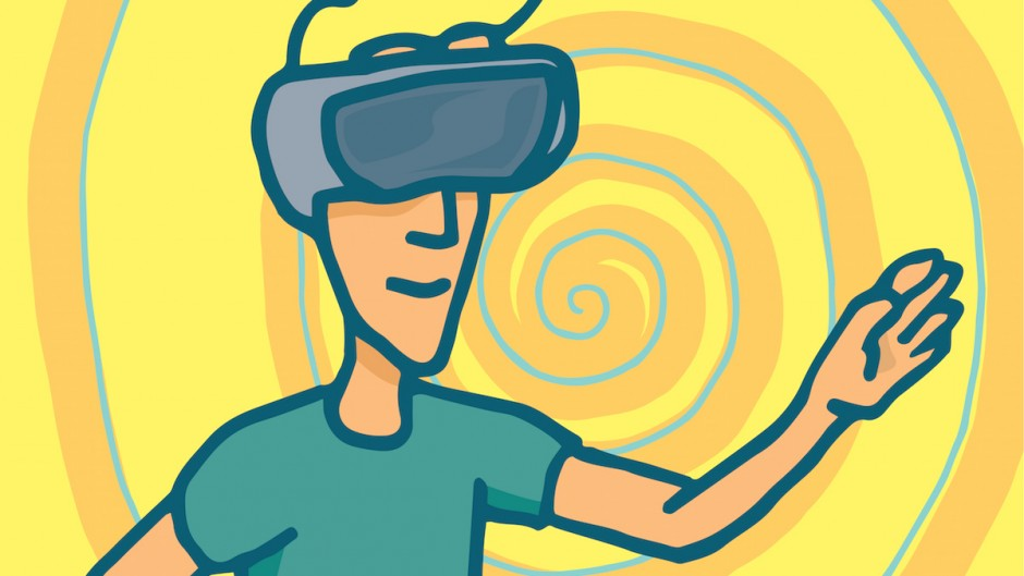 Cartoon Illustration Of A Man In A Virtual Reality Session