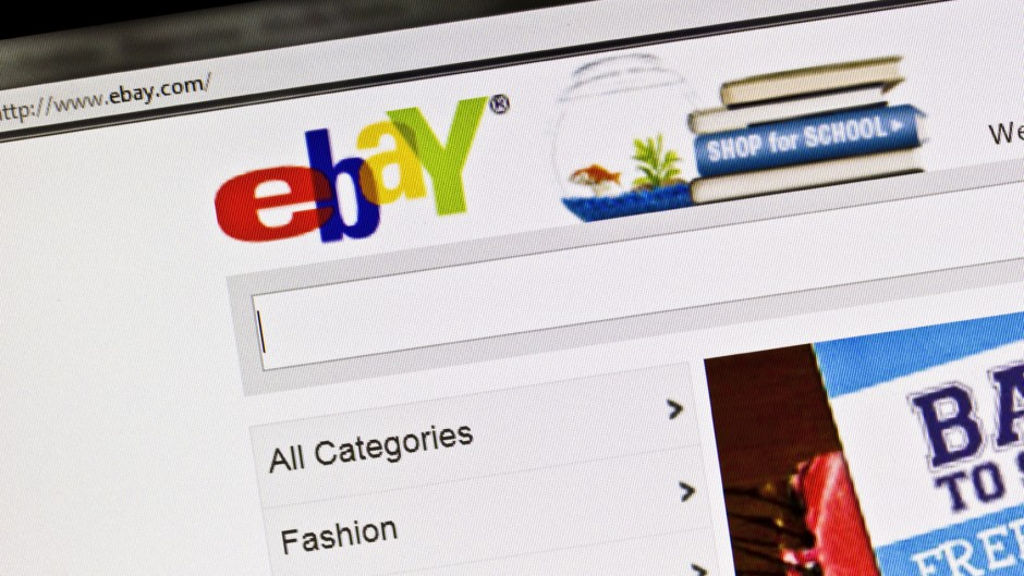 Close up of www.ebay.com's main web page.
