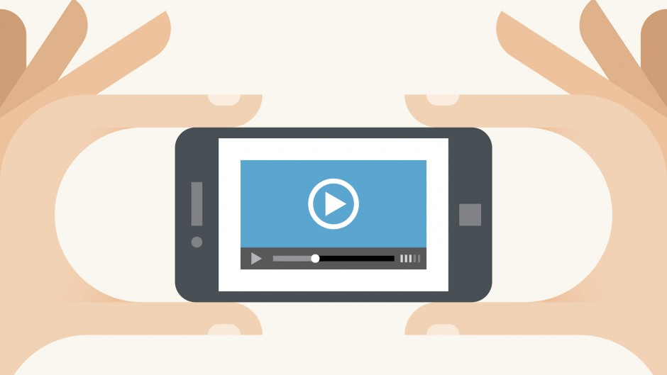 Mobile phone with video player in the hands - iStock_000026535809_Illustration