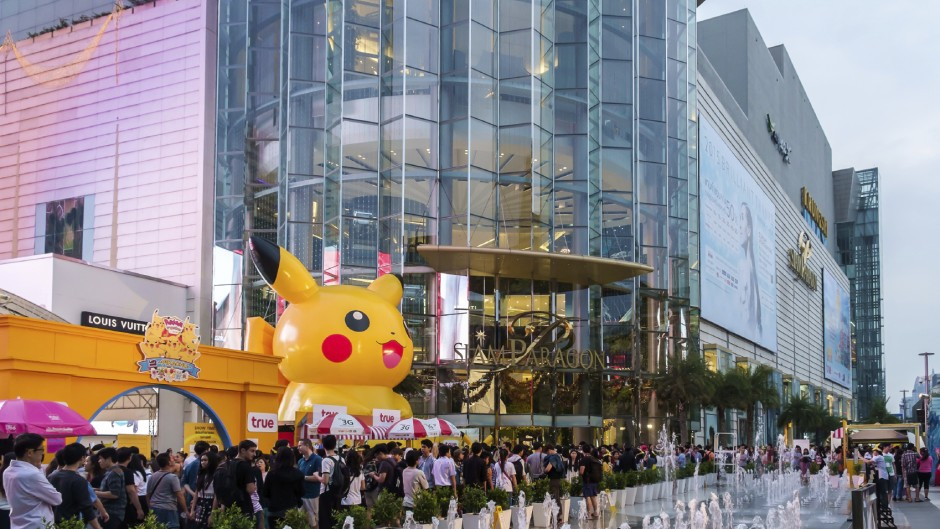 Bangkok - Jan. 11: Shoppers visit Siam Paragon mall and Pokemon Festival in the Siam Square area on Jan. 11, 2015 in Bangkok, Thailand. With 300,000 sq m of retail space Siam Paragon is one of the world's largest malls.