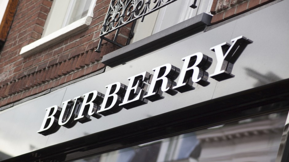 Logo of the Burberry store in P.C. Hofstraat, the luxury shopping street in Amsterdam.