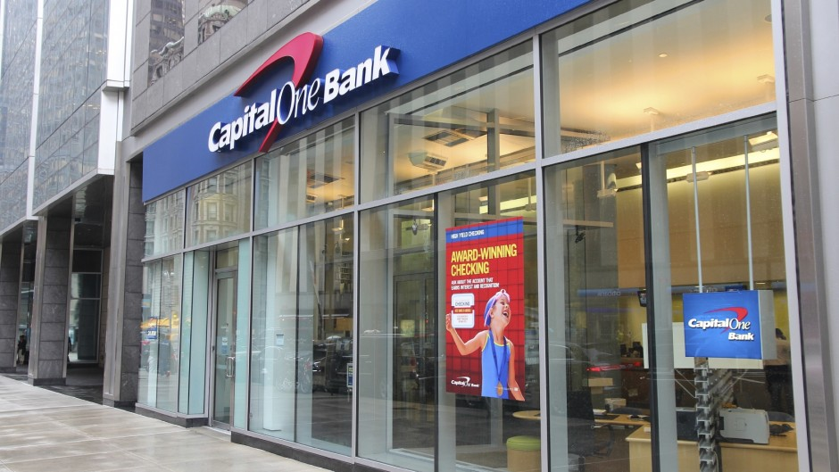 NEW YORK - JUNE 10: Capital One Bank branch on June 10, 2013 in New York. Capital One exists since 1988, employs 39,593 people (2012) and had US$ 21.4 billion revenue in 2012.