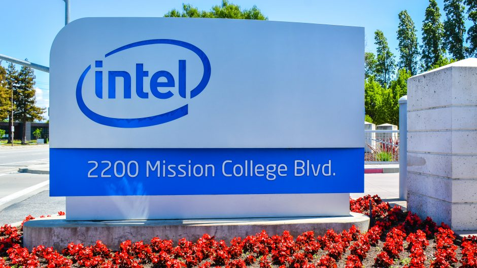 Santa Clara, CA, USA - Apr. 23, 2016: Intel Corp. Headquarters. Intel is an American multinational technology company that is one of the world's largest and highest valued semiconductor chip makers.