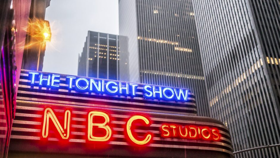 New York, USA - January 3, 2015: NBC studio in Manhattan in a rainy winter evening. Formed in 1926, NBC was the first major broadcast network in the United States.