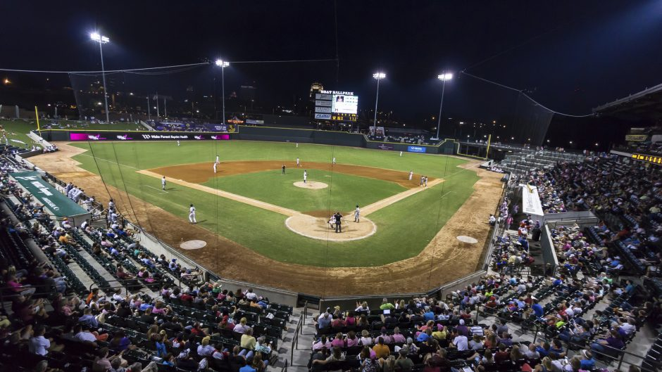 Winston-Salem, NC, USA - August 14, 2014: Night game for the Winston-Salem Dash at BB&T Ballpark in Winston-Salem, North Carolina