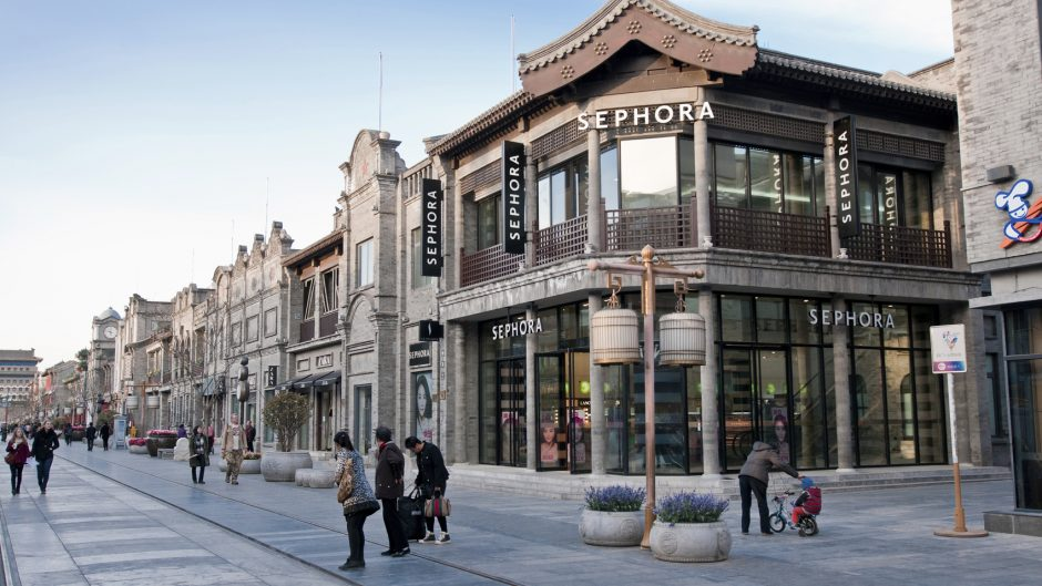 Beijing, China - March 27th, 2013: tourists in front of Sephora store at famous Qianmen Dajie pedestrian commercial street
