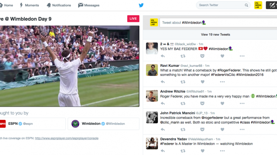 Twitter livestreaming Wimbledon
