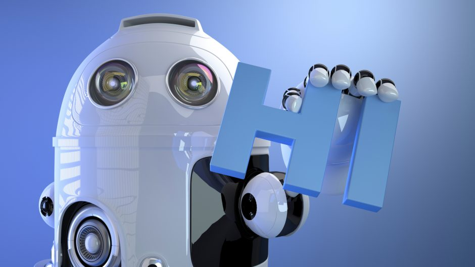 Robot holding HI sign. Technology concept. 3d Illustration