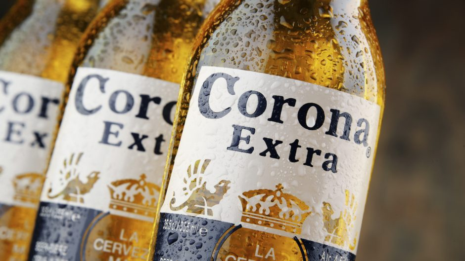 Poznan, Poland - April 20, 2016: Corona Extra, one of the top-selling beers worldwide is a pale lager produced by Cerveceria Modelo in Mexico