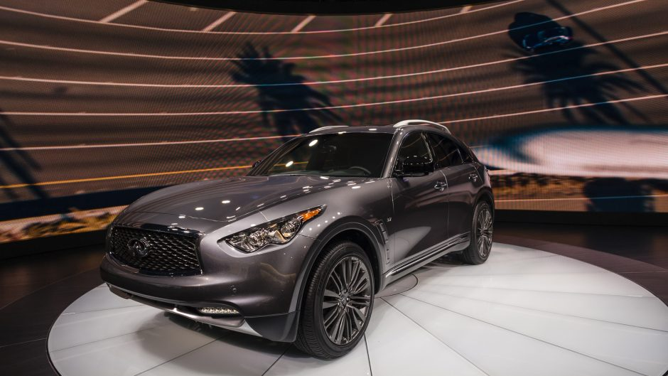 New York, USA - March 23, 2016: Infiniti QX70 on display during the New York International Auto Show at the Jacob Javits Center.