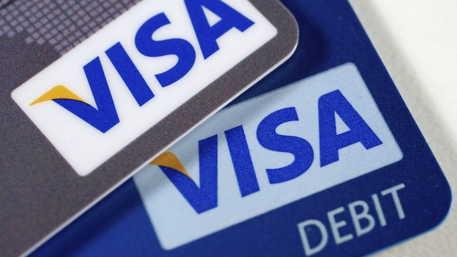 """Gibraltar, Gibraltar - May 02, 2011: Close up of the Visa logo on a Credit Card and a Debit Card"""