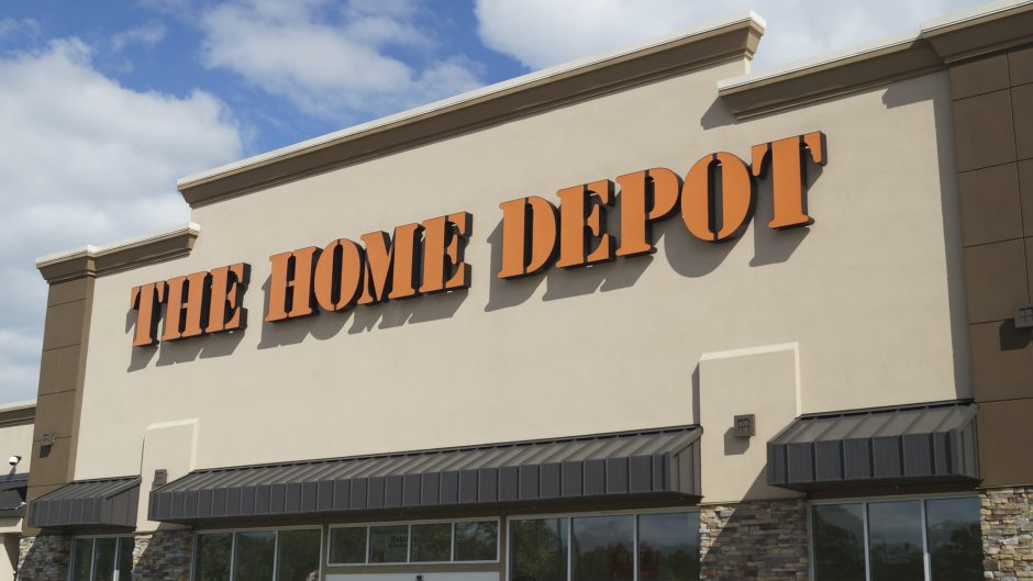 Concordville, PA, USA - June 14, 2014: Sign above the entrance to Home Depot store.  The Home Depot is a retailer of home improvement and construction products and services.