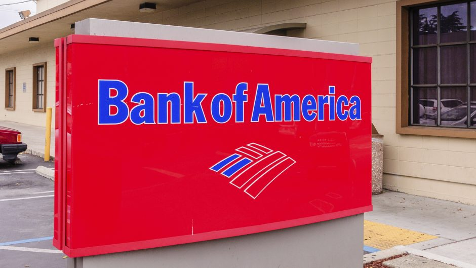 San Carlos, CA, USA - May 5, 2016: Bank of America sign. Bank of America is a US multinational banking and financial services corporation headquartered in Charlotte, NC.
