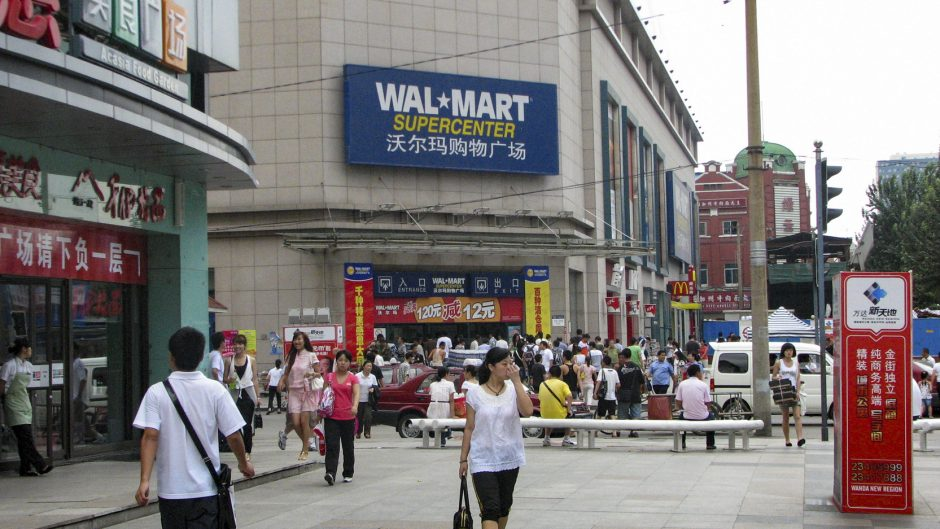 Shenyang, China - August 12, 2008: Shoppers stroll around a Wal-Mart store in Shenyang, China.